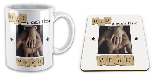 Set of Personalised Dad, A Son's First Hero Novelty Mug & Coaster